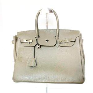 Handbags - Taupe Pebble Grain Leather Birkin Style Handbag